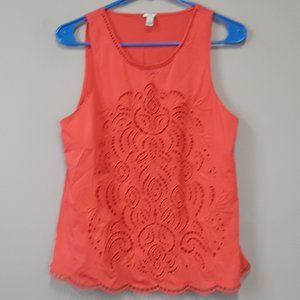 J.Crew Coral Lace Cutout Sleeveless Top Size S